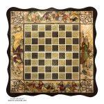 Khatam Chessboard & Backgammon Box with Persian Miniature - Ahora Miniature