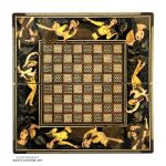 Khatam Chessboard & Backgammon Box with Seashell & Eslimi Miniature