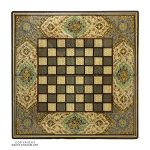 Khatam Chessboard & Backgammon Box with Walnut wood & Eslimi Miniature