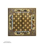 Khatam Chessboard & Backgammon Box with Eslimi & Polo Miniature Design