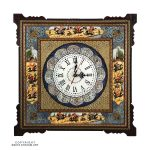 Khatam & Minakari Hunting Ground Miniature Wall Clock - 25 cm